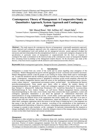 Contemporary Theory of Management: A Comparative Study on Quantitative  Approach