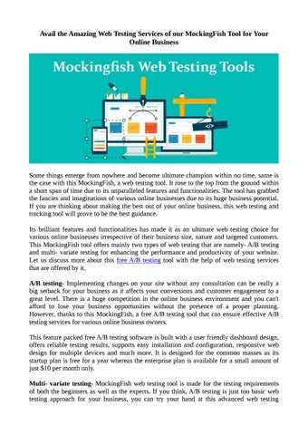 Avail the Amazing Web Testing Services of our MockingFish Tool for