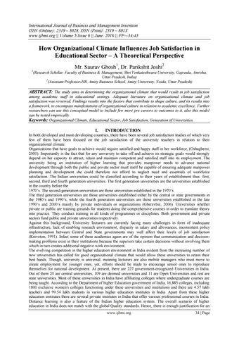 organizational climate and teachers job satisfaction The impact of organizational climate on teachers' job performance - download as pdf file (pdf), text file (txt) or read online education job satisfaction and organizational climate in relation to college type and gender the mattress industry.