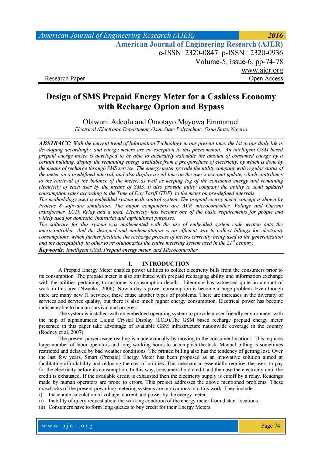 applications of prepaid energy meter