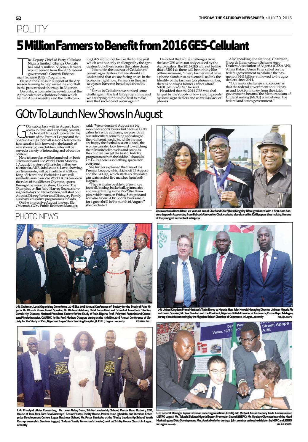 Saturday 30th July 2016 by THISDAY Newspapers Ltd - issuu