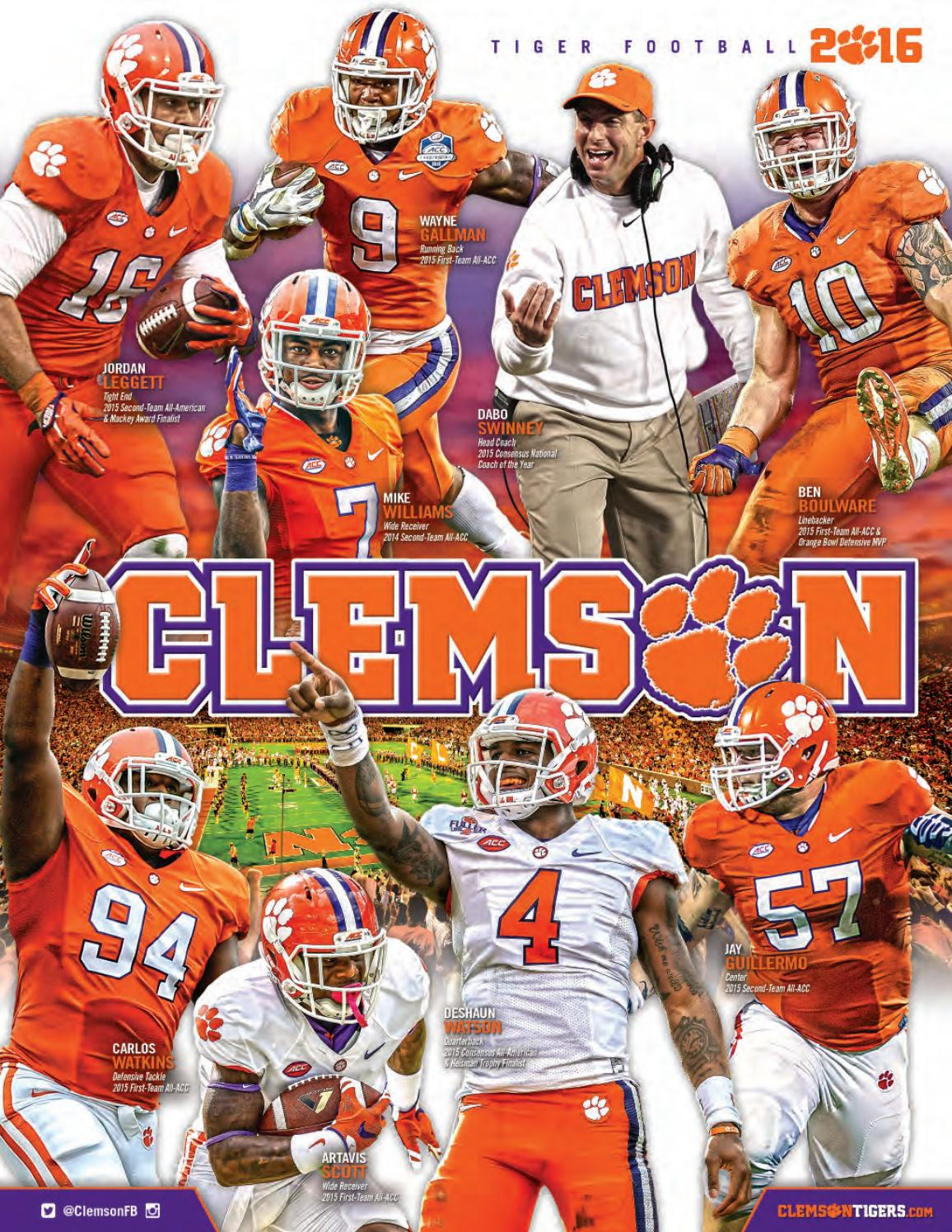 19b5acc894b 2016 Clemson Football Media Guide by Clemson Tigers - issuu