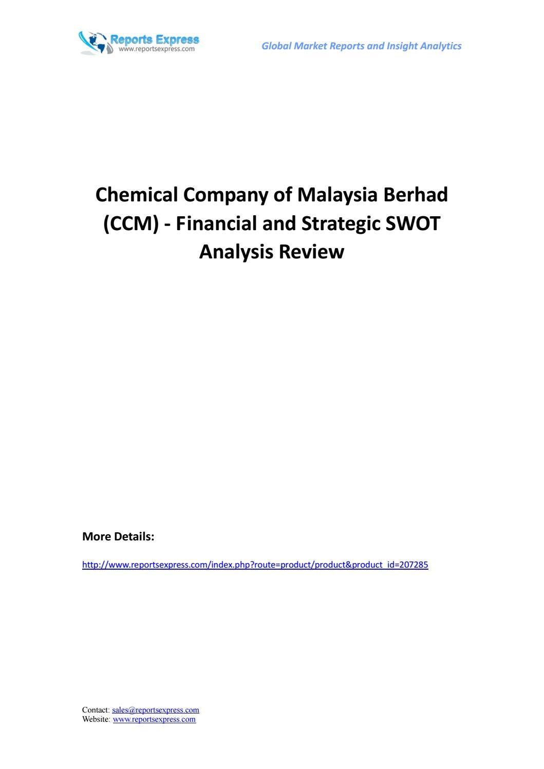 Chemical company of malaysia berhad (ccm) financial and strategic