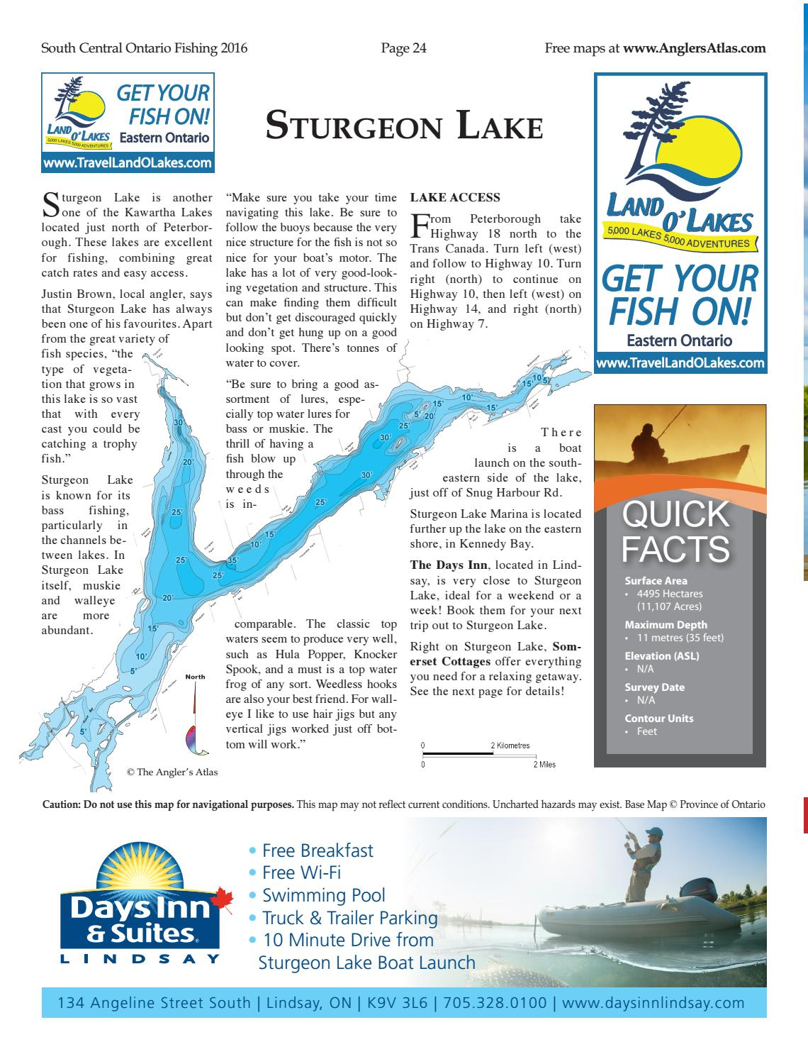 sturgeon lake ontario fishing map Angler S Atlas South Central Ontario Fishing Guide By Glacier sturgeon lake ontario fishing map