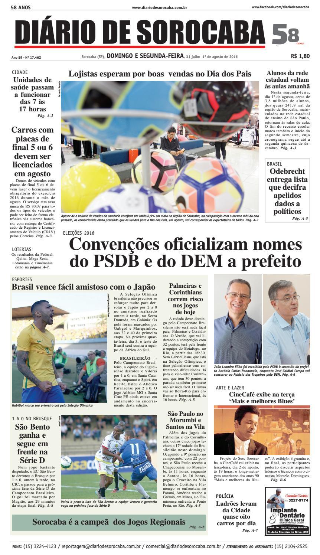 f3074f77f1 Edição de 31 de julho de 2016 by DIÁRIO DE SOROCABA - issuu