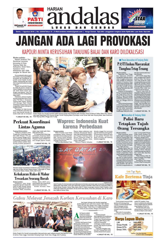 Epaper Andalas Edisi Senin 01 Agustus 2016 By Media Andalas