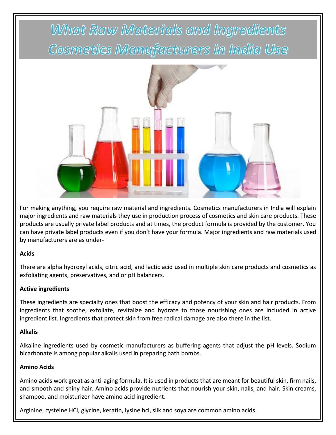 What Raw Materials and Ingredients Cosmetics Manufacturers