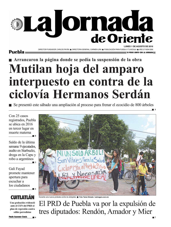 5336 puebla - La Jornada de Oriente Puebla 01/08/16 by La