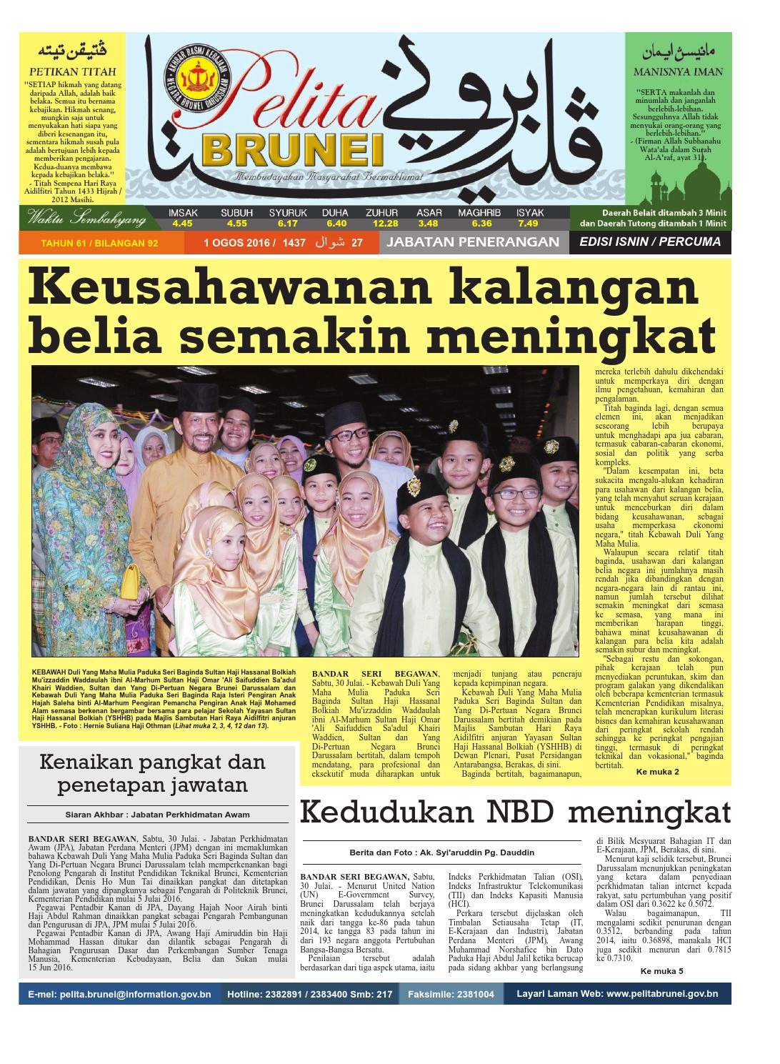 Pelita Brunei Isnin 1 Ogos 2016 By Putera Katak Brunei Issuu