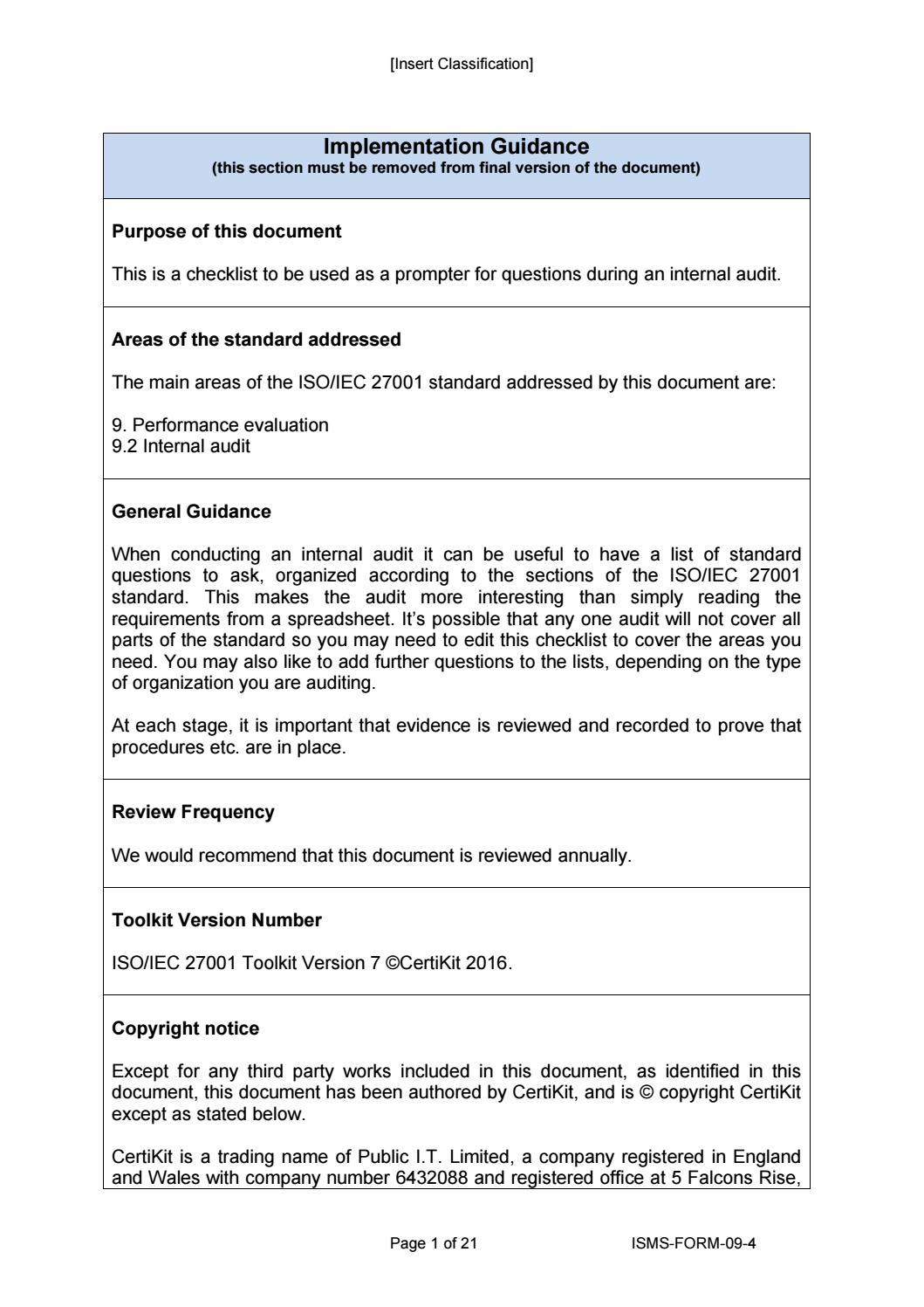 isms form 09 4 internal audit checklist by certikit. Black Bedroom Furniture Sets. Home Design Ideas