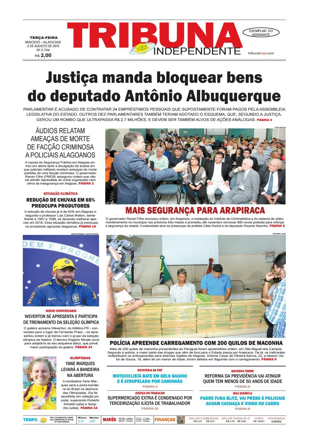 Edição número 2704 - 2 de agosto de 2016 by Tribuna Hoje - issuu 6121ec1b4964a