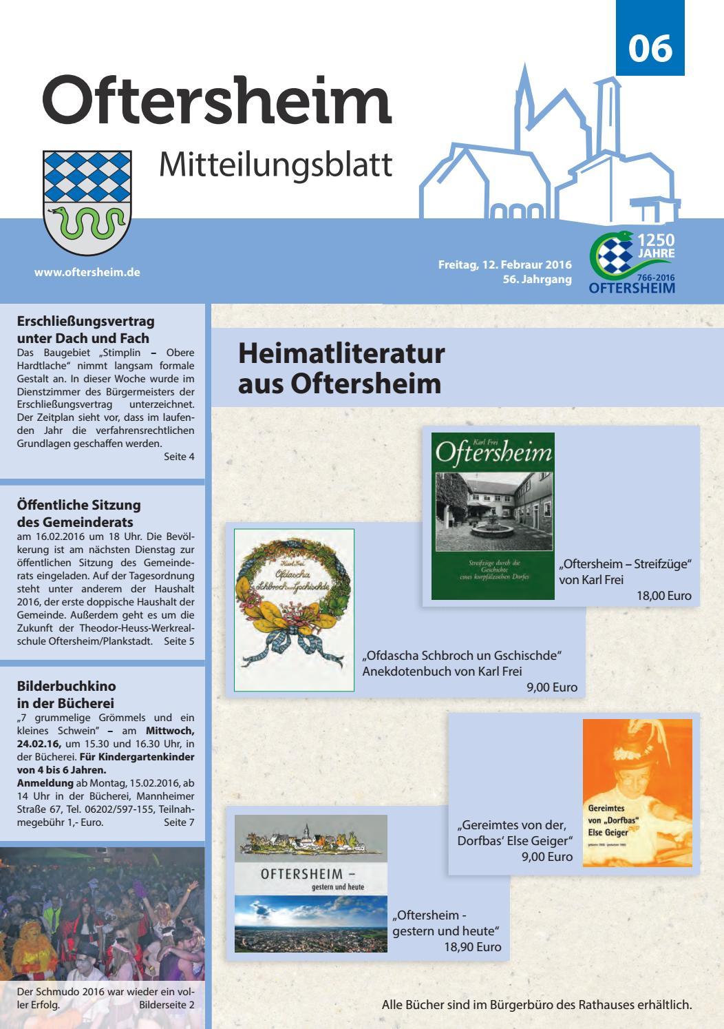 2016-006 Mitteilungsblatt - Gemeinde Oftersheim by Gemeinde Oftersheim -  issuu