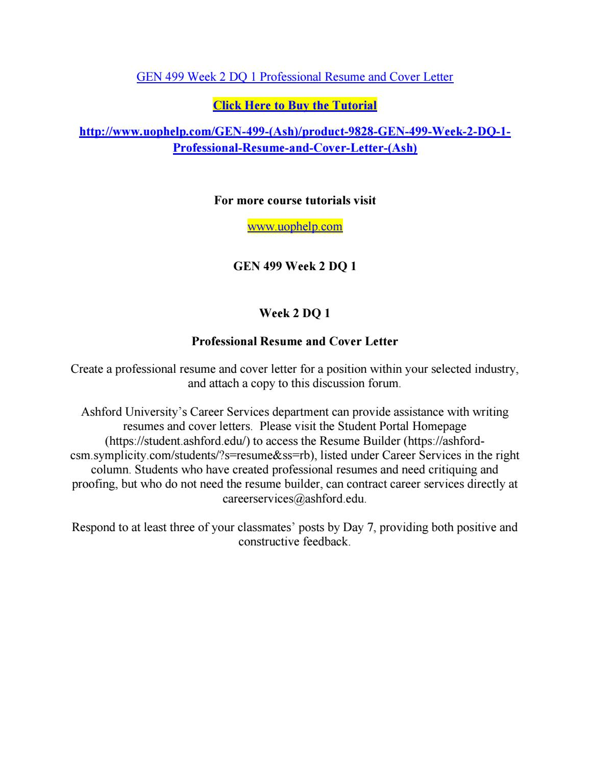 Gen 499 week 2 dq 1 professional resume and cover letter by ...