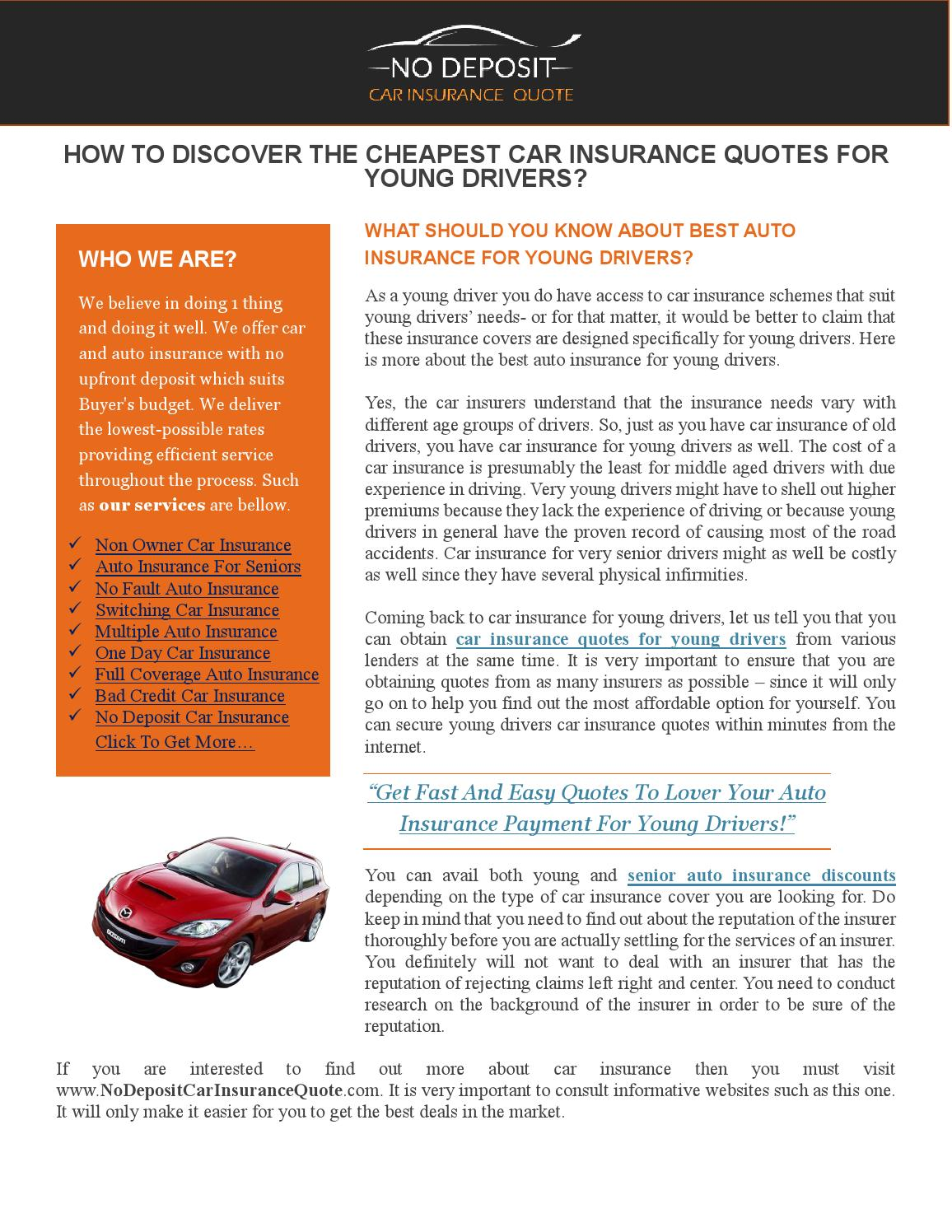 How To Discover The Cheapest Car Insurance Quotes For Young Drivers