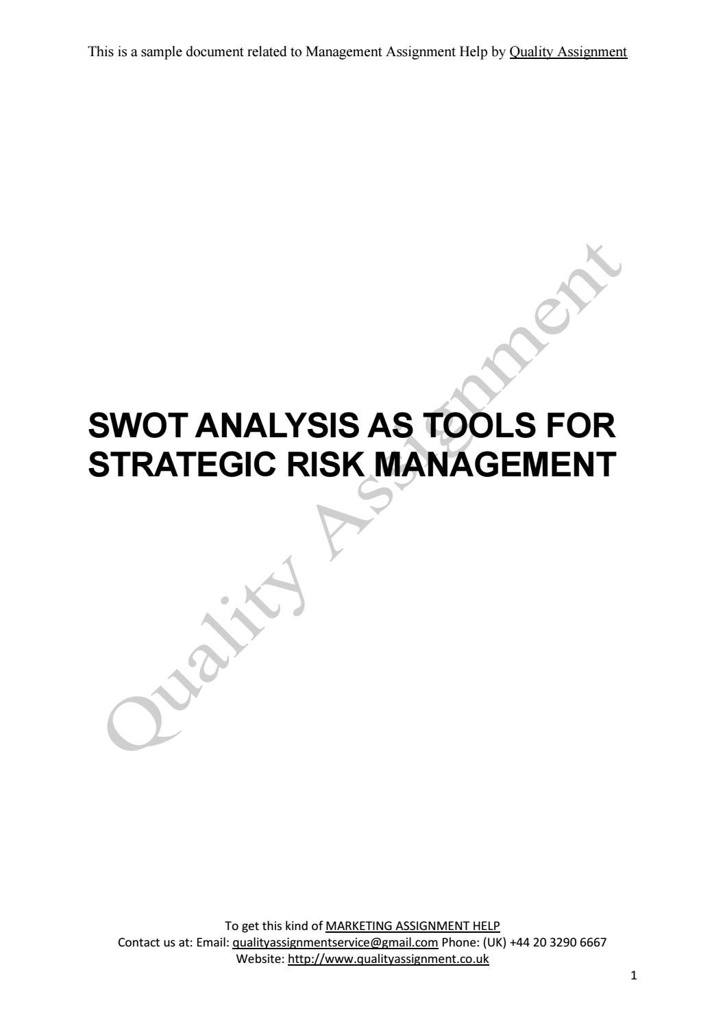 "assignment swot analysis Personal swot analysis is a great tool to assess yourself in order to plan your career as confucius once said, ""do a job you love, and you will never have to work a day in your life"" the tricky part is finding a job you love that matches your skill set and of course pay well this is where a ."