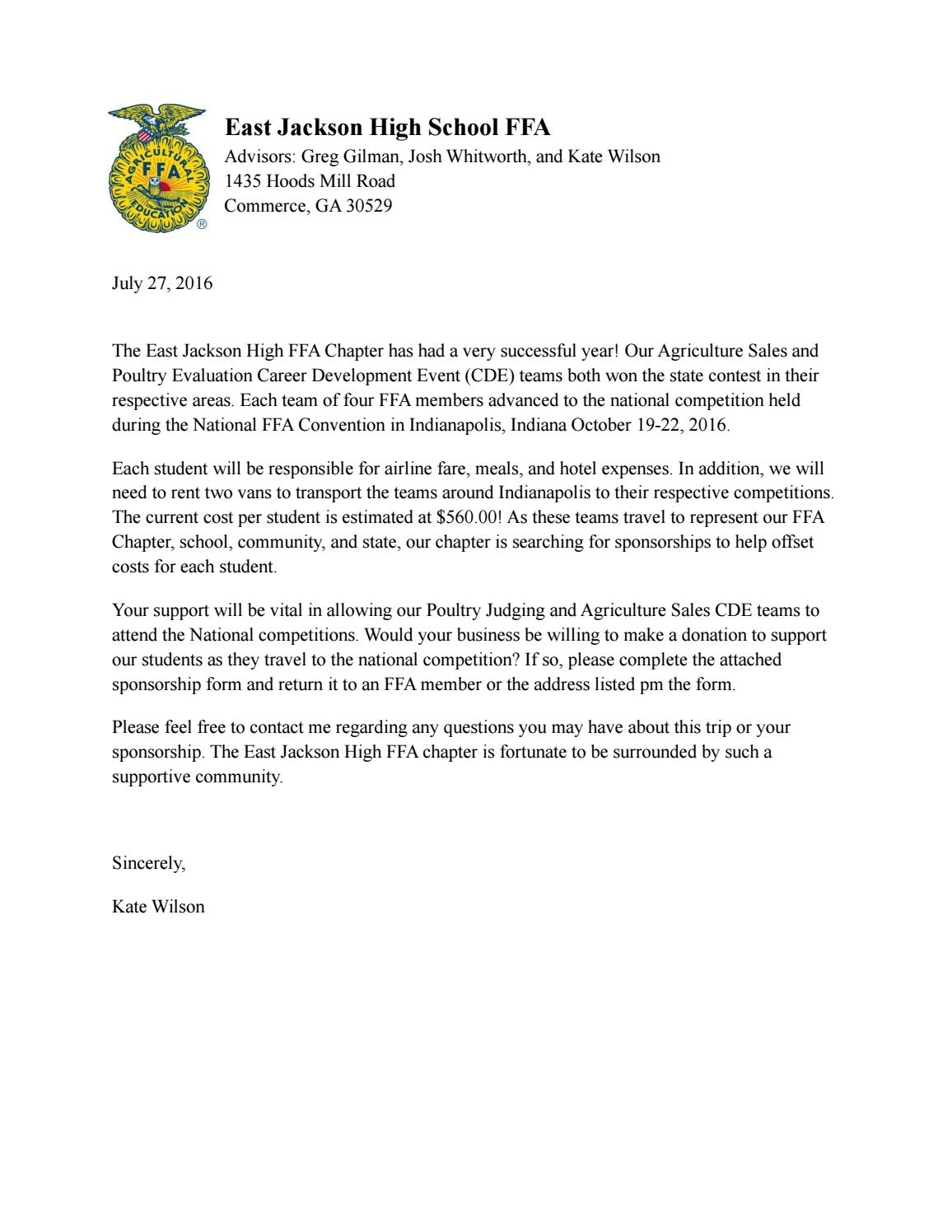 National FFA Convention Sponsorship Letter by East Jackson