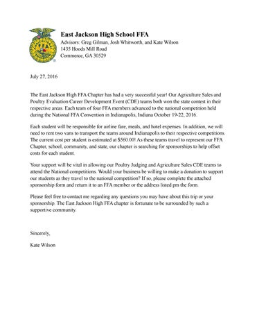 National Ffa Convention Sponsorship Letter By East Jackson High Ffa