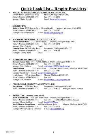 Mcmha Provider List 2016 By Monroe Community Mental Health Authority