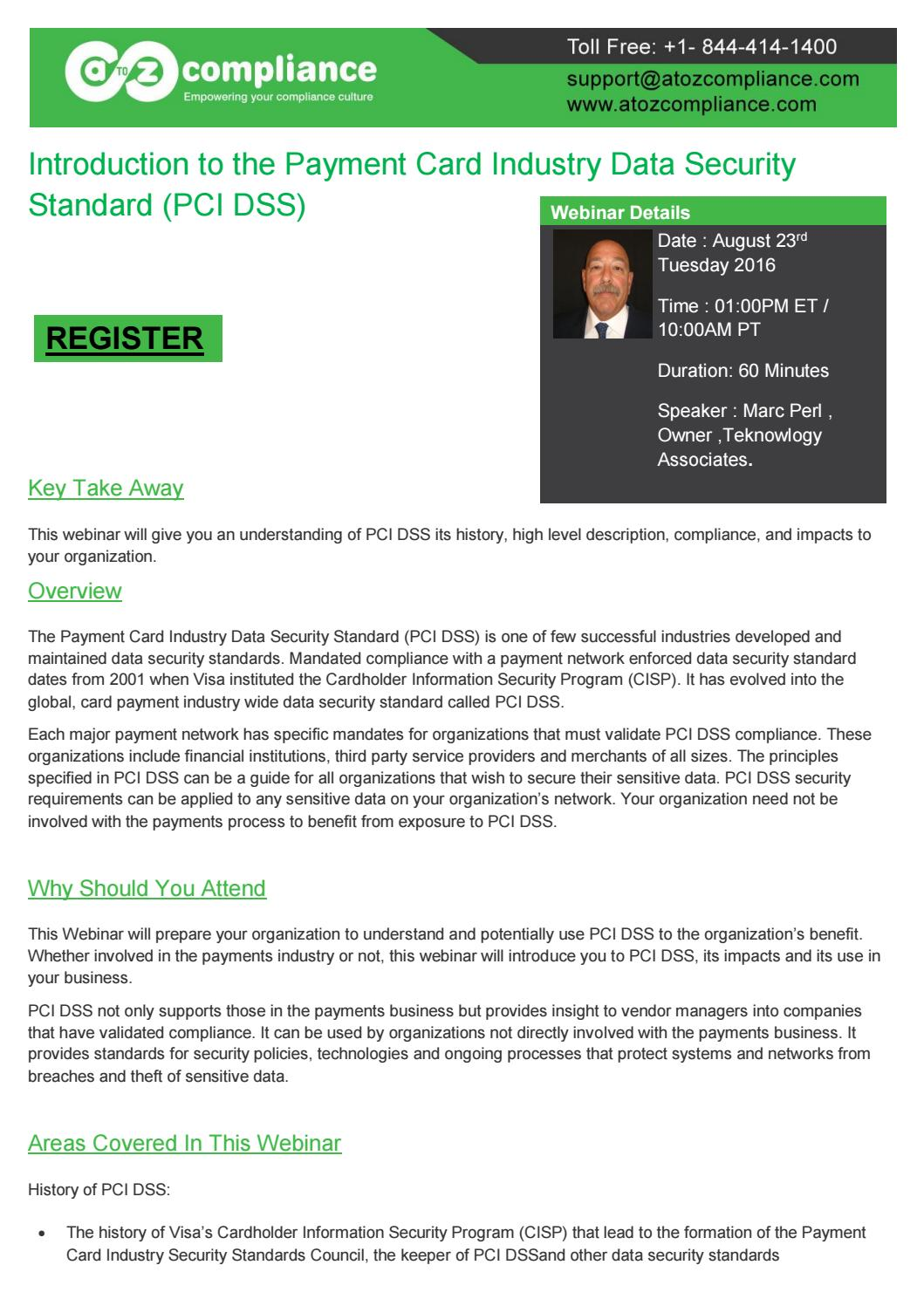 Introduction To The Payment Card Industry Data Security Standard Standards Pci Dss By Atoz Compliance Atozcompliance Issuu