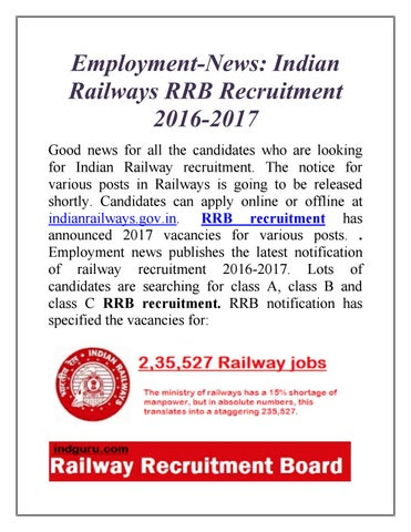 Employment-News: Indian Railways RRB Recruitment 2016-2017 by