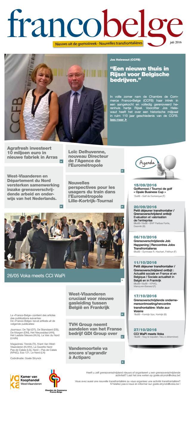 Francobelge juli 2016 by voka west vlaanderen issuu - Chambre de commerce franco belge ...