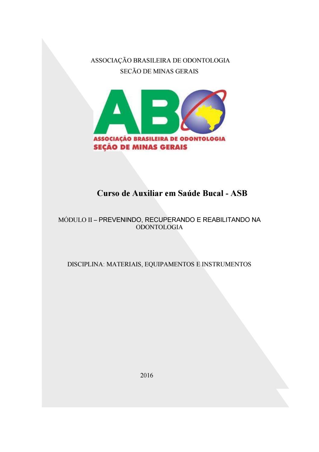 b7e4adbee5d2e Curso de auxiliar em saúde bucal iii by Solutech Sistemas - issuu