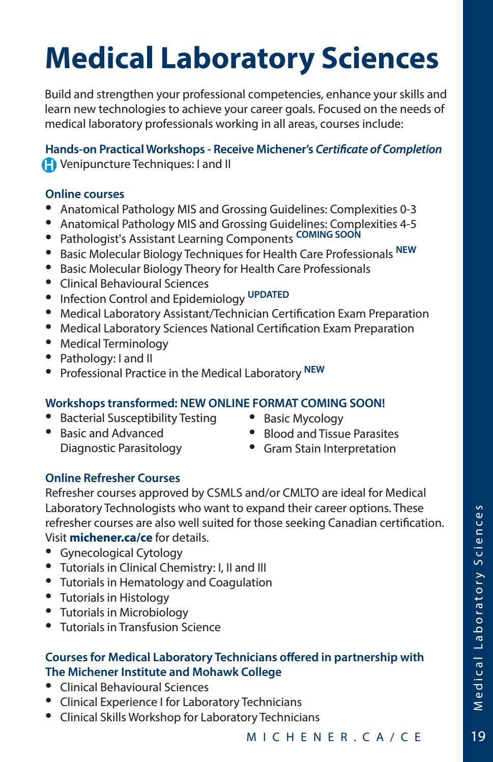 Michener 2016 2017 Continuing Education Course Calendar By The