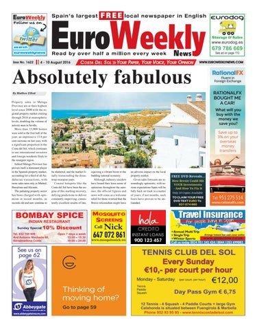 Euro weekly news costa del sol 4 10 august 2016 issue 1622 by page 1 fandeluxe Gallery