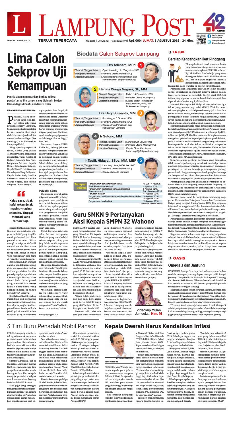 Lampung Post Jumat 5 Agustus 2016 By Issuu Produk Ukm Bumn Sulam Usus Pmk