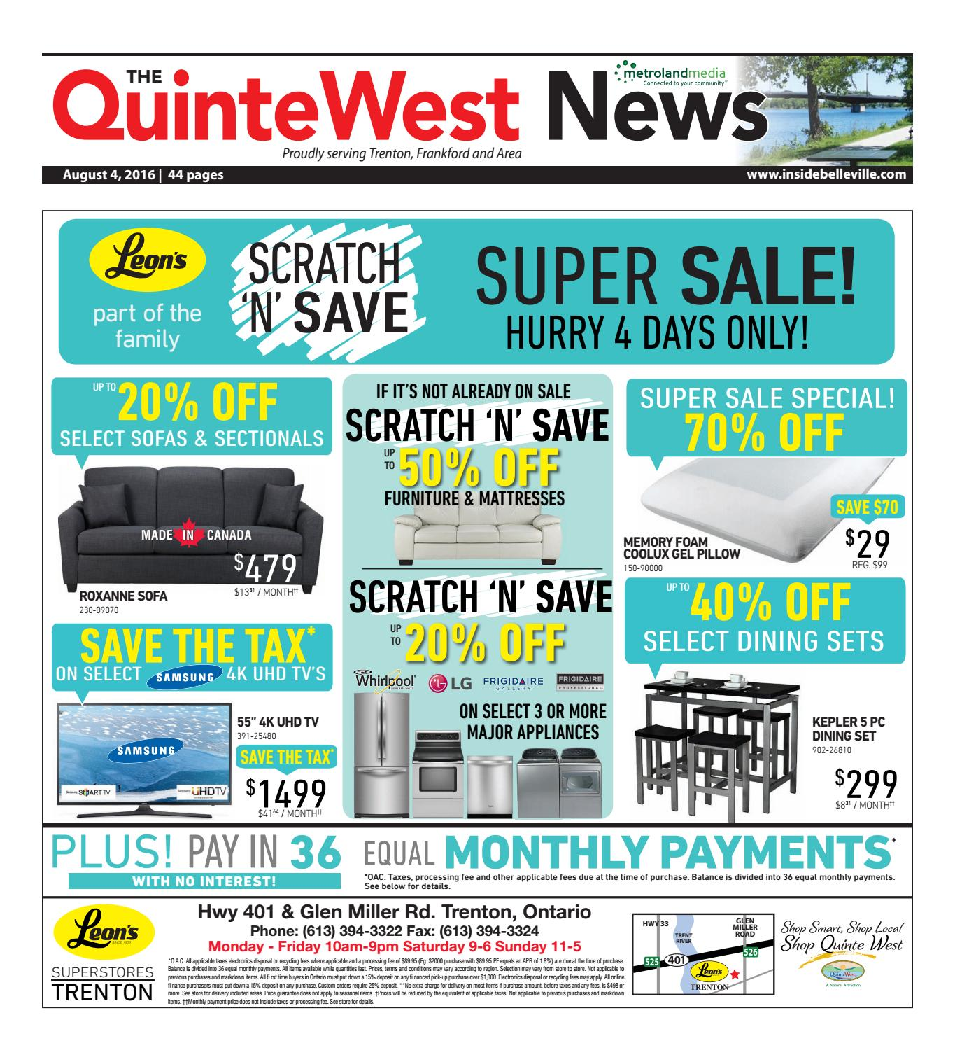 Quinte080416 by Metroland East - Quinte West News - issuu