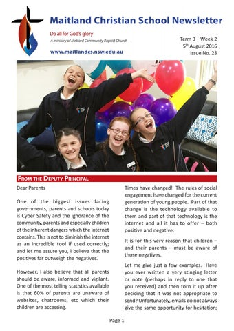 School Newsletter 2016 No 23 By Maitland Christian School Issuu