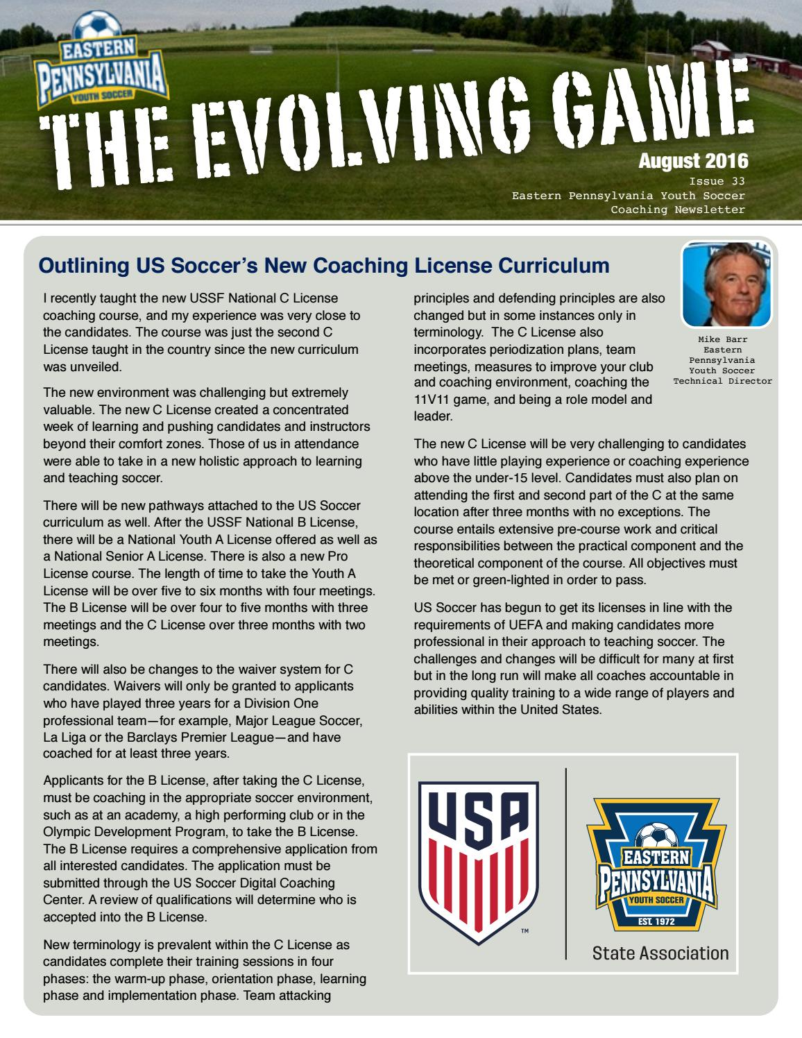 The Evolving Game August 2016 By Eastern Pennsylvania Youth Soccer