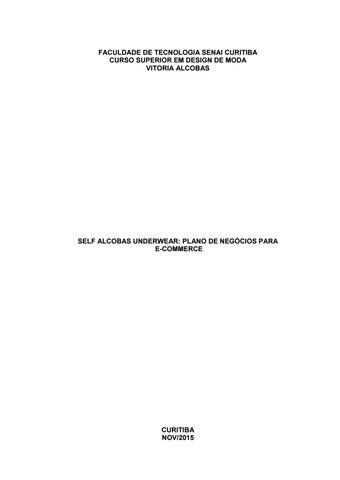 Vitoria Alcobas - Self alcobas underwear plano de negócios para e ... 63f399c8521
