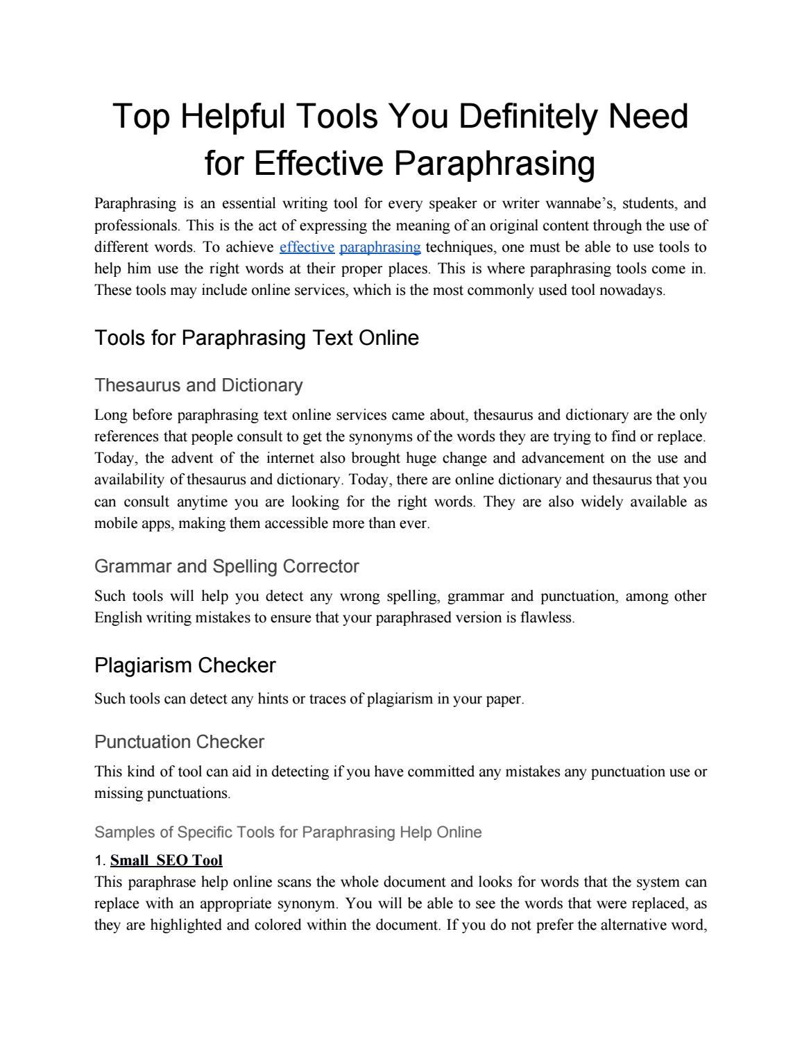 paraphrase online service by Online Services - issuu