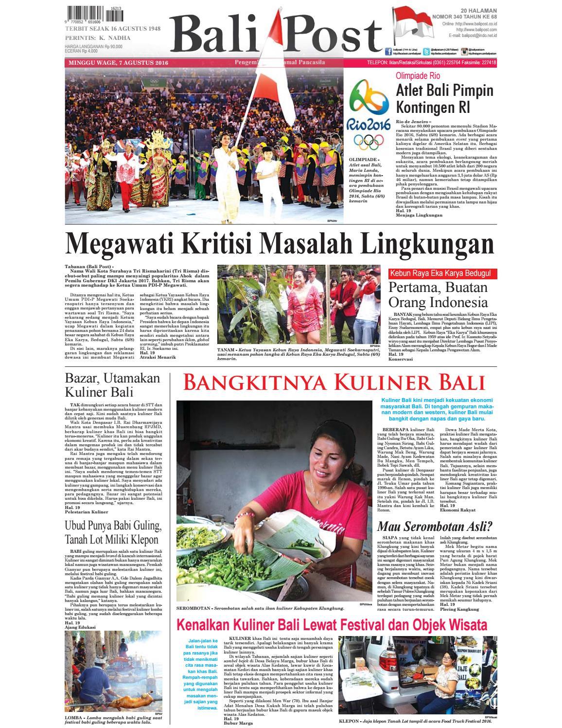 Edisi 7 Agustus 2016 Balipostcom By E Paper Kmb Issuu Produk Ukm Bumn Batik Tulis Babon Angrem