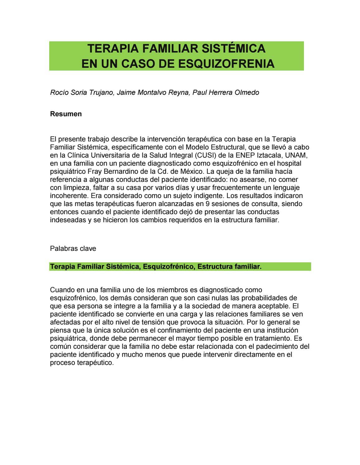 Terapia Familiar Sistémica En Un Caso De Esquizofrenia By