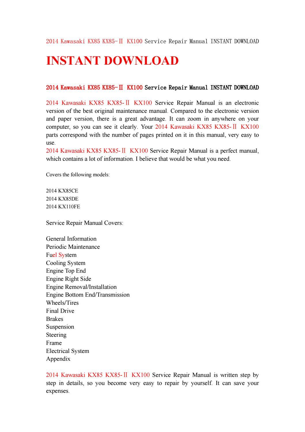 ... Array - 2014 kawasaki kx85 kx85 kx100 service repair manual instant rh  ...