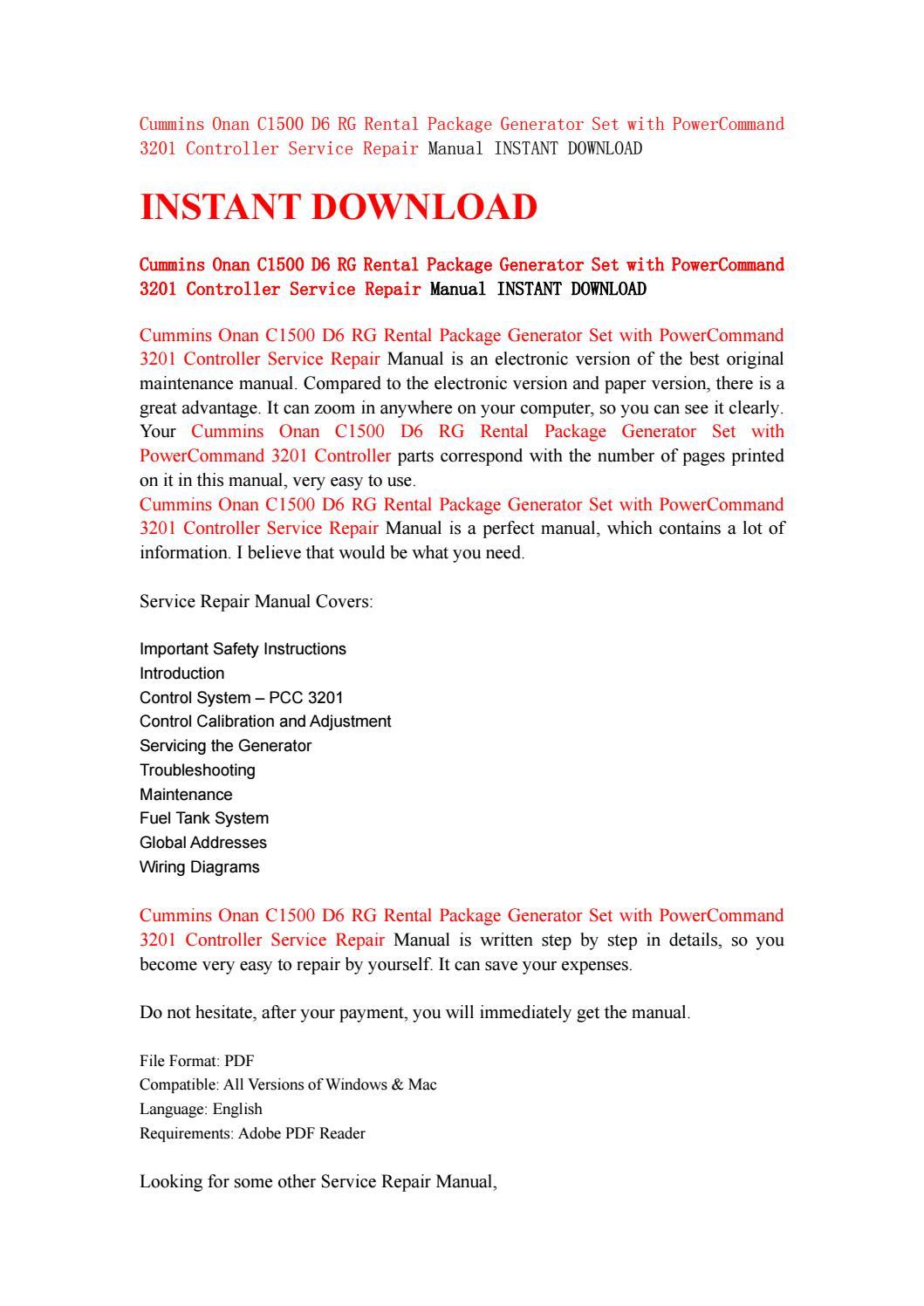 cummins onan c1500 d6 rg rental package generator set with rh issuu com Cummins Engine Manual Instruction Manual Cummins
