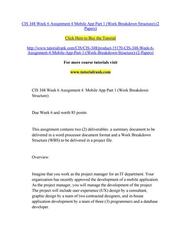 cis 348 assignment 1 Cis 348 assignment 3: voip part 1 (work breakdown structure) to buy this class copy & paste below link in your brower .