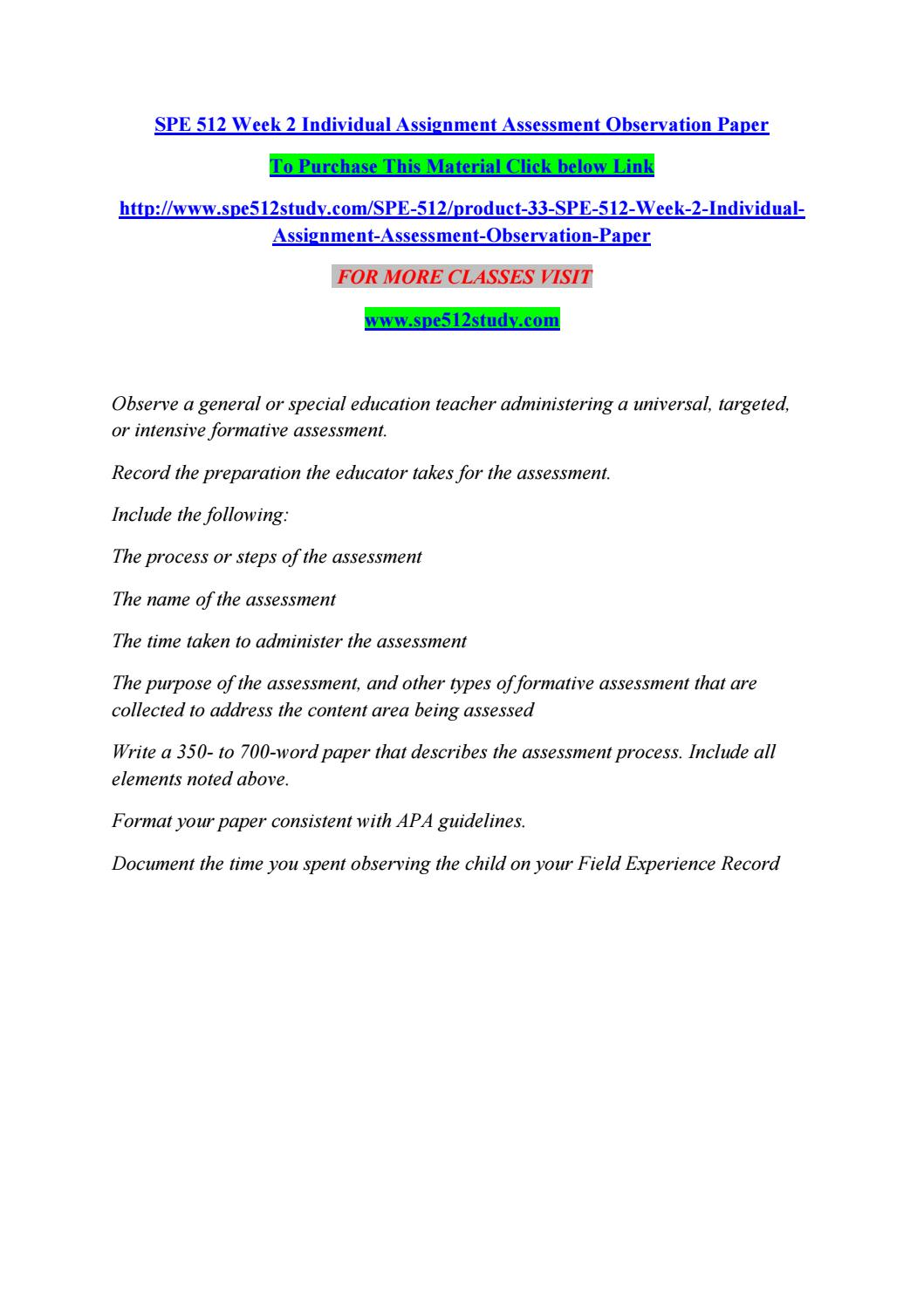 Spe 512 week 2 individual assignment assessment observation