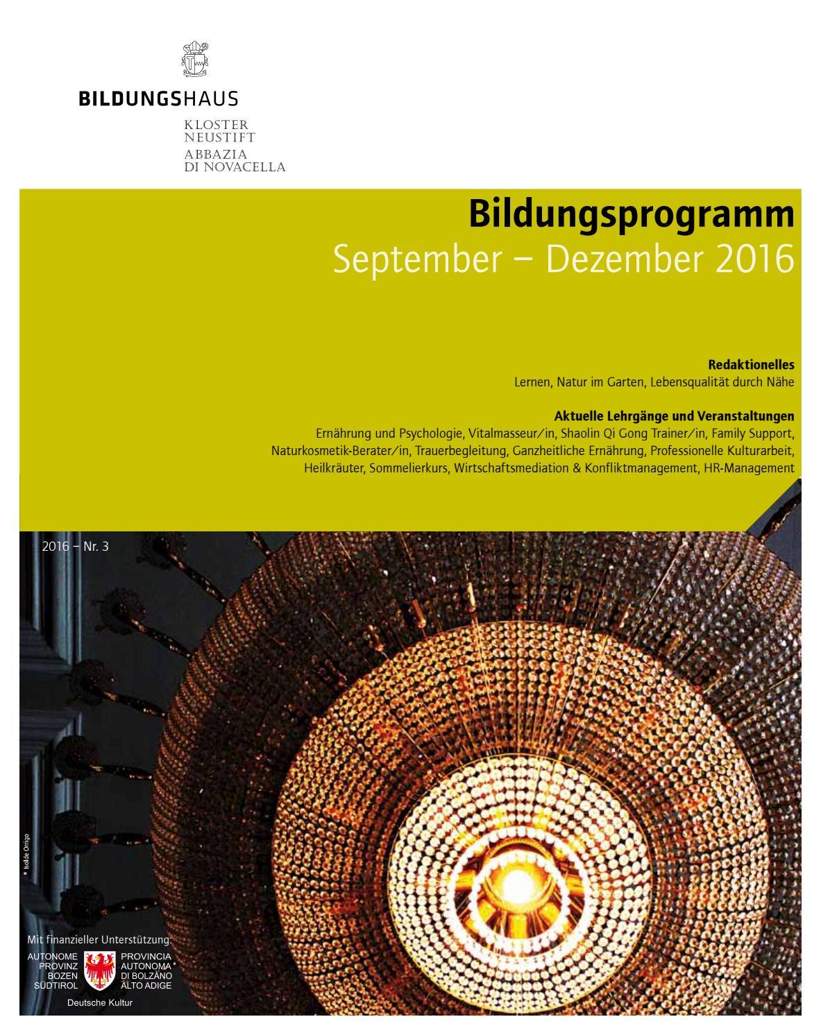 Bildungsprogramm September - Dezember 2016 by Bildungshaus Kloster ...