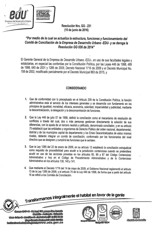 Resolución Gg 231 De 2016 Actualiza Comité De Conciliación