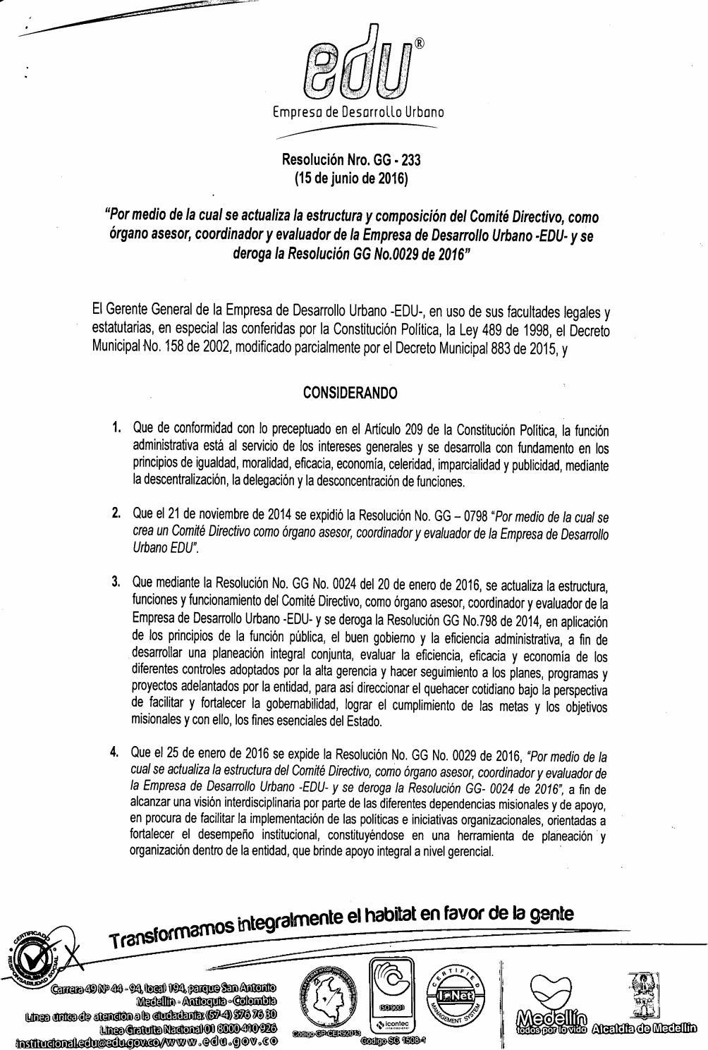 Resolución Gg 233 De 2016 Actualiza Comité Directivo By Edu