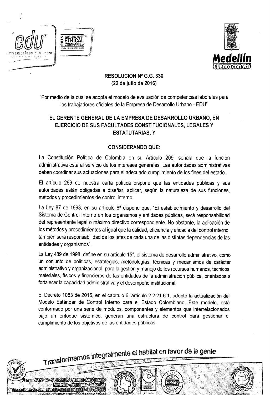 Resolución Gg 330 De 2016 Evaluación De Competencia By Edu