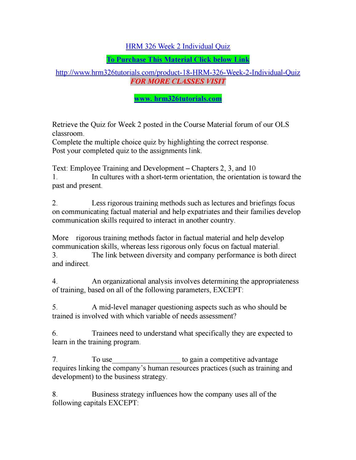 Hrm 326 week 2 individual quiz by JenniferBall37 - issuu