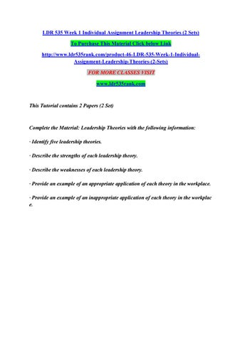 Ldr 535 week 1 individual assignment leadership theories (2 sets) by ...