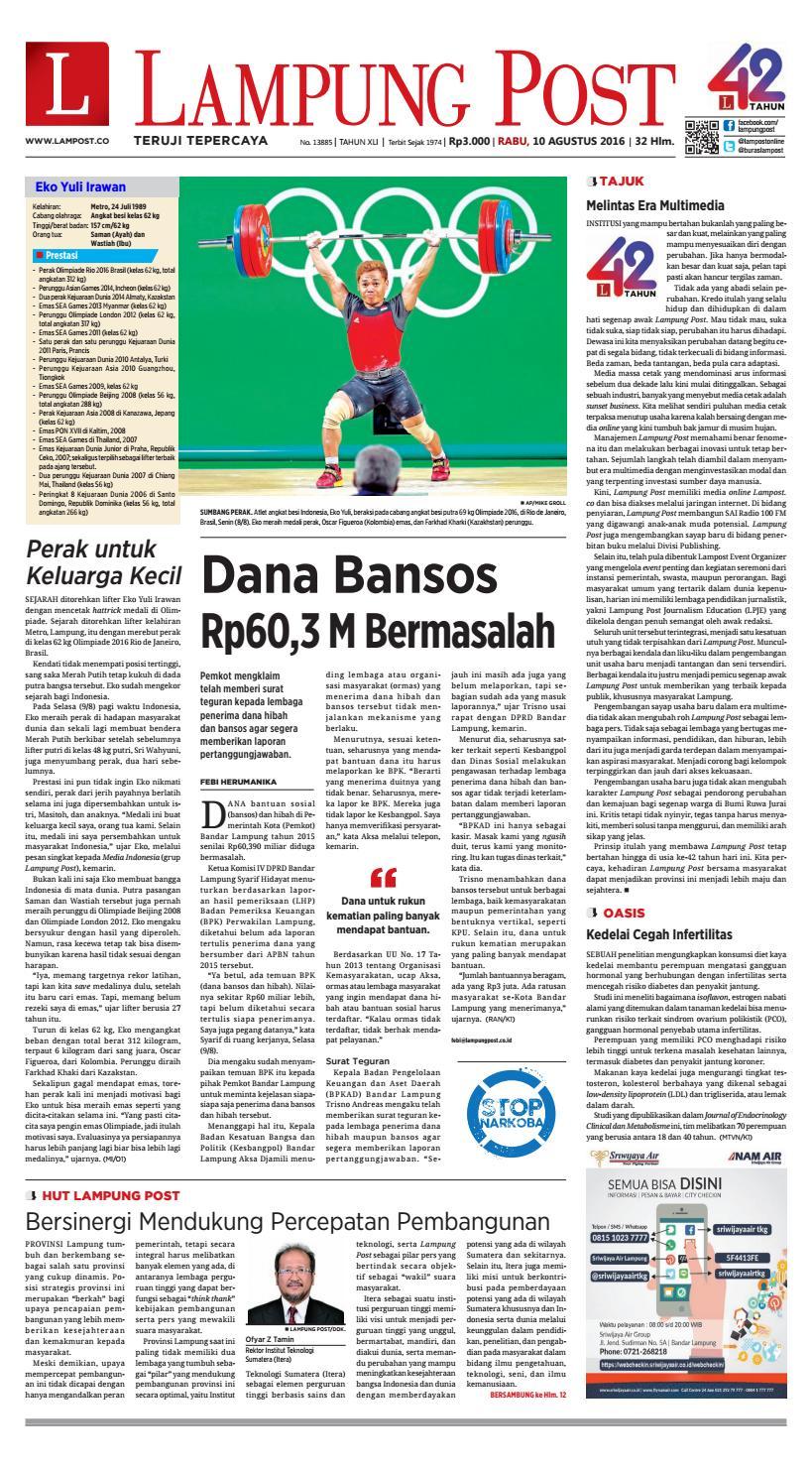 Lampung Post Rabu 10 Agustus 2016 By Issuu Keripik Jagung Panggang Pedasmanis Thun Amr