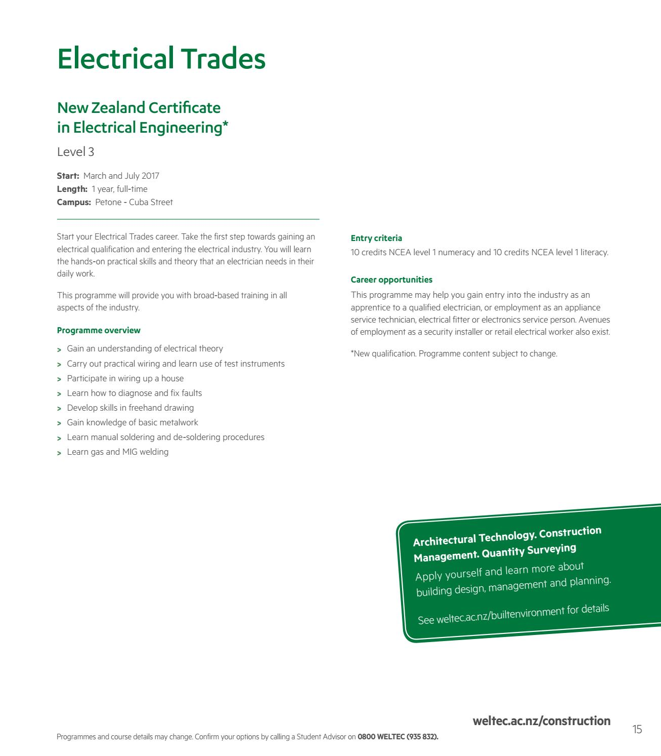 Construction Programme Guide 2016 2017 By Weltec Issuu House Wiring Procedures