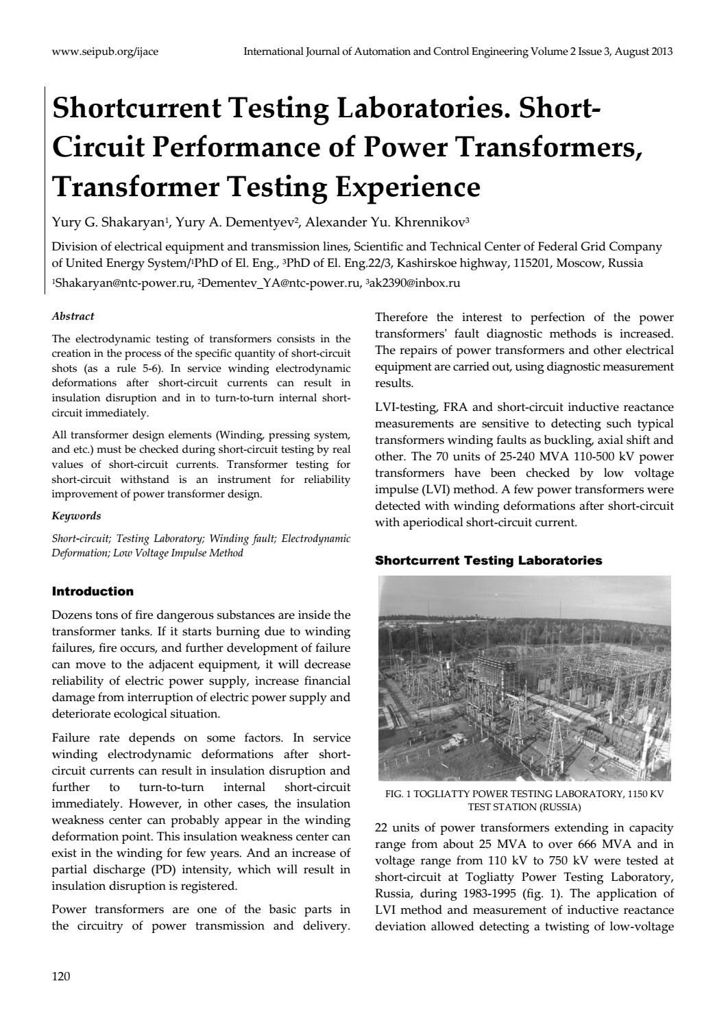 Shortcurrent Testing Laboratories Short Circuit Performance Of A Occurs When Power Transformers By Co Sep Issuu