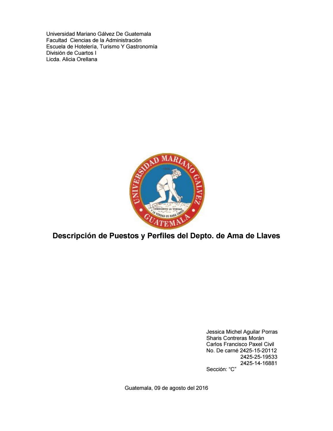 Descripción de puestos ama de llaves by Michel Aguilar - issuu